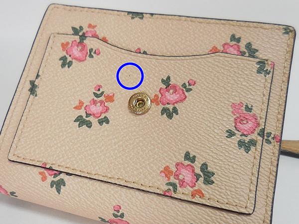 コーチ 三つ折り財布27112花柄ピンク 黒点