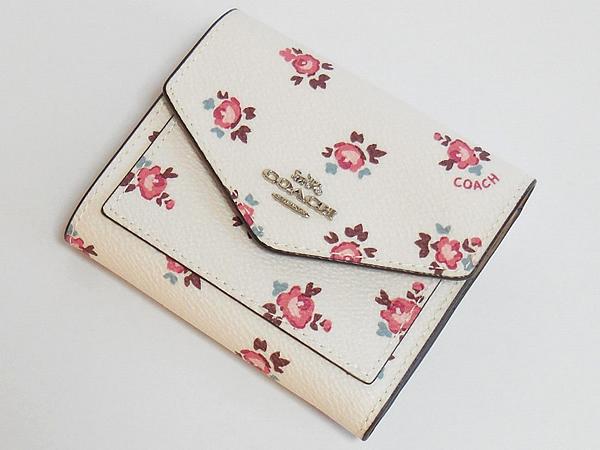 コーチ 三つ折り財布27112花柄白 前面