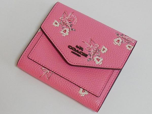 コーチ 三つ折り財布28445花柄ピンク 前面