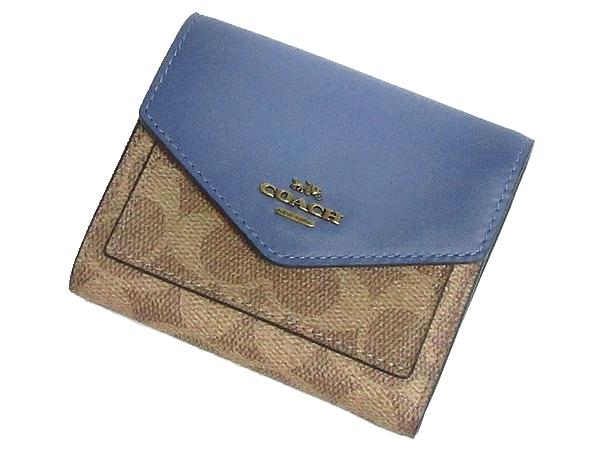 コーチ 三つ折り財布31548濃い青 正面