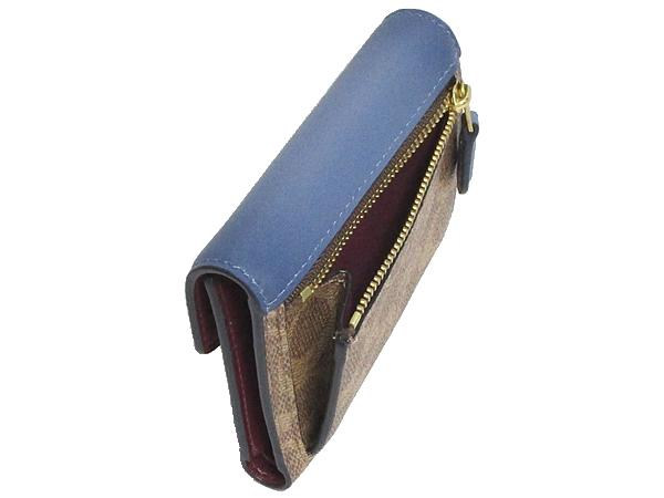 コーチ 三つ折り財布31548濃い青 小銭入れ