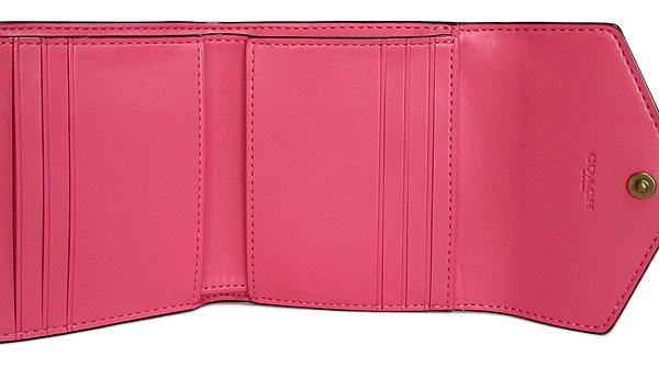 コーチ 三つ折り財布31548白ピンク カード入れ