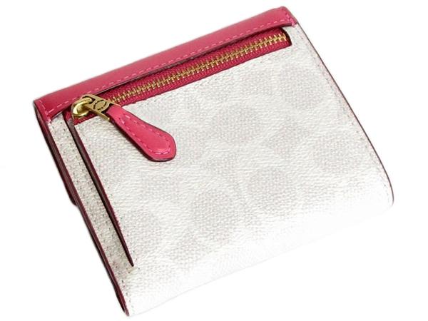 コーチ 三つ折り財布31548白ピンク 背面