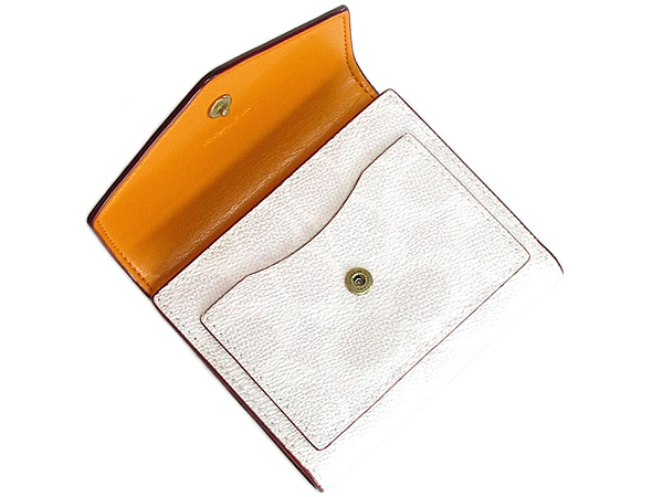 コーチ 三つ折り財布31548白オレンジ 前ポケット