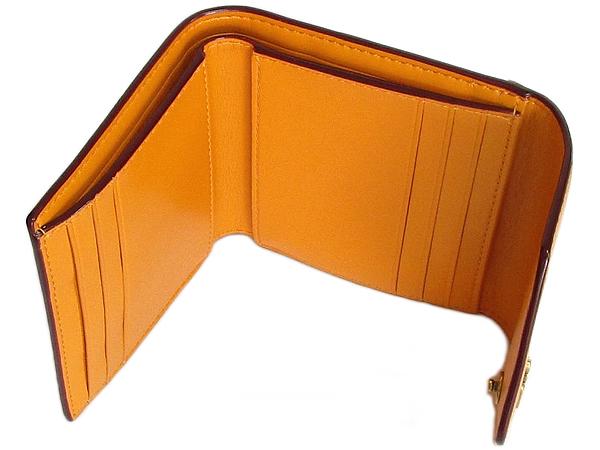 コーチ 三つ折り財布31548白オレンジ カード入れ
