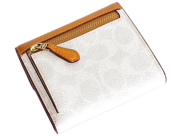 コーチ 三つ折り財布31548白オレンジ 背面