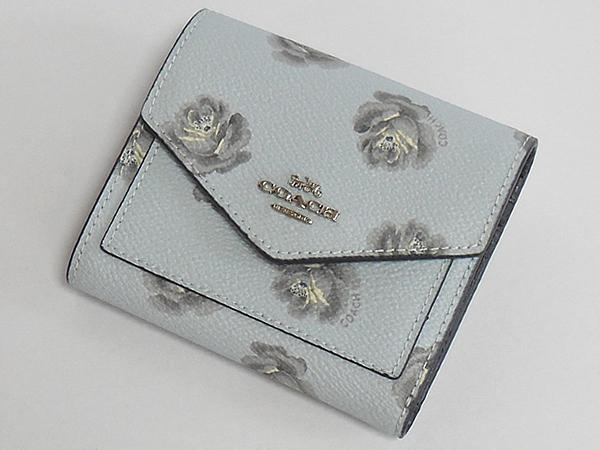 コーチ 三つ折り財布31822花柄水色 前面