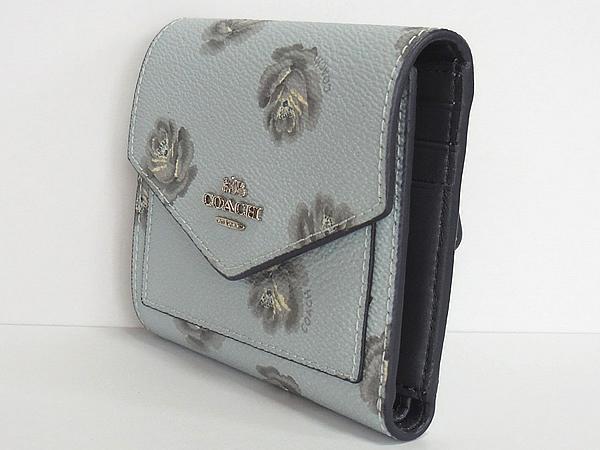 コーチ 三つ折り財布31822花柄水色 側面