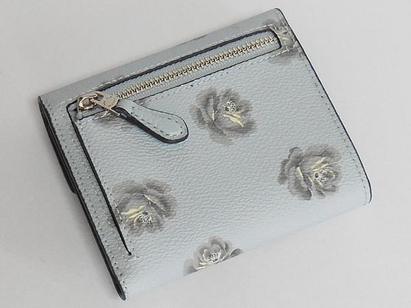 コーチ 三つ折り財布31822花柄水色 背面