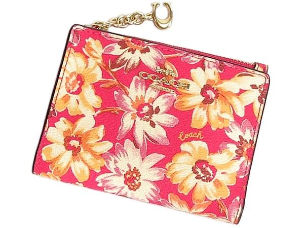 コーチ スナップカードケース3595花柄ピンク