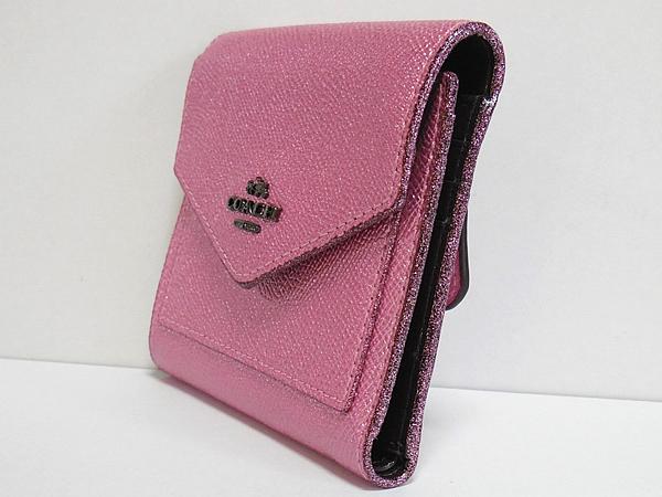コーチ 三つ折り財布59972ピンク 側面