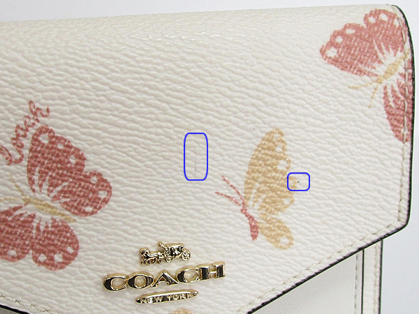 コーチ 三つ折り財布69683蝶白 線と点