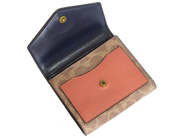 コーチ 三つ折り財布69829紺 前ポケット
