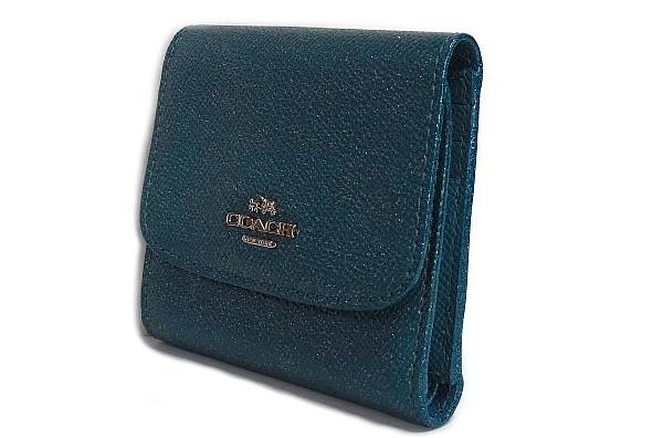コーチ コンパクト財布F15622濃い緑