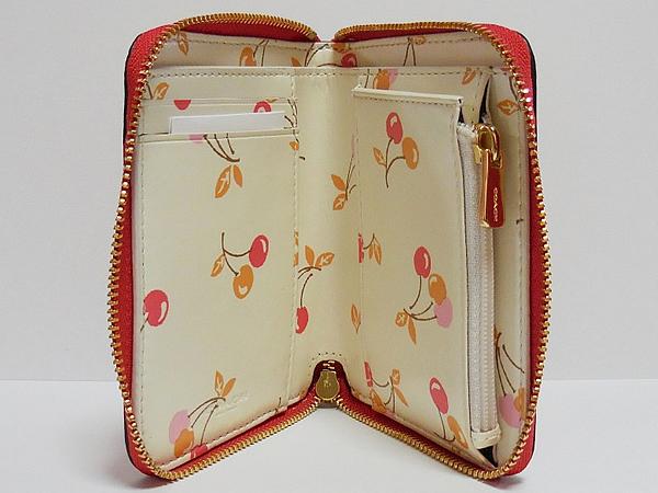 コーチ スモール財布F31553チェリー赤 内装