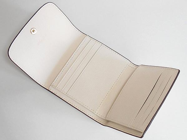 コーチ 三つ折り財布F73381花柄白 カード入れ