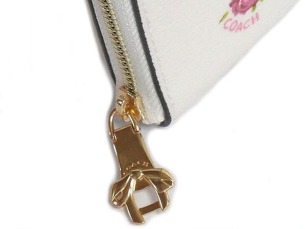 コーチ ジップ二つ折り財布F29449白花柄 リボン