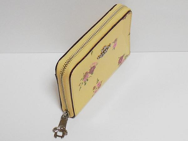 コーチ ジップスモール財布F30183黄色花柄 リボン