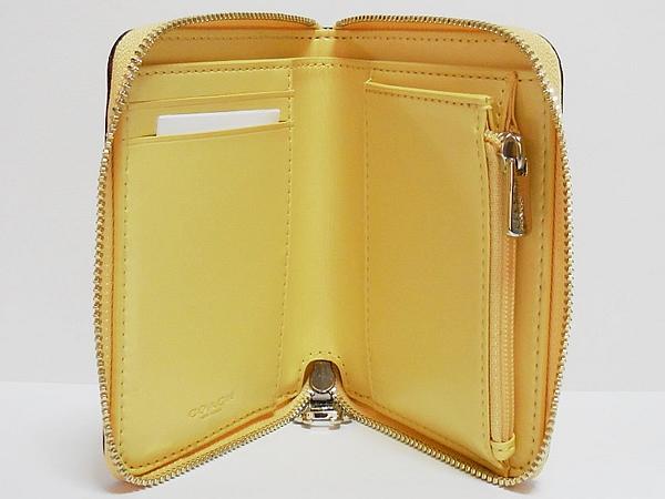 コーチ ジップスモール財布F30183黄色花柄 内装