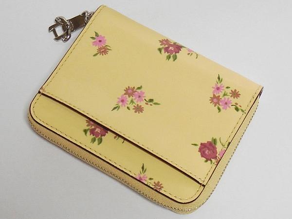 コーチ ジップスモール財布F30183黄色花柄 背面