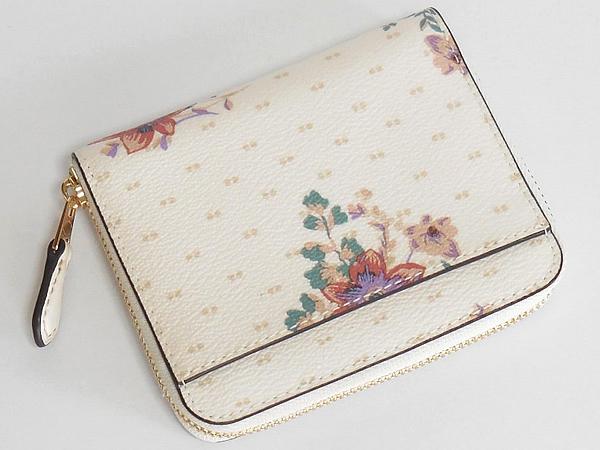 コーチ ジップスモール財布F32147白花柄 背面