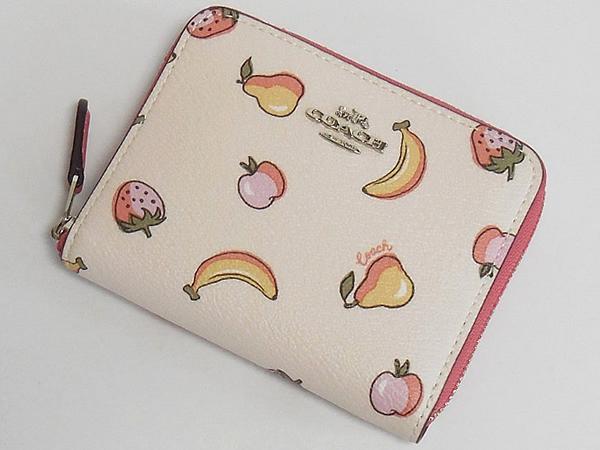 コーチ スモール財布F32147フルーツ白ピンク 前面