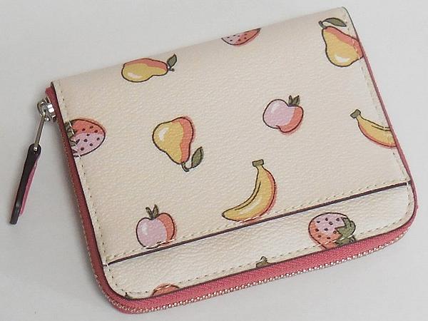 コーチ スモール財布F32147フルーツ白ピンク 背面