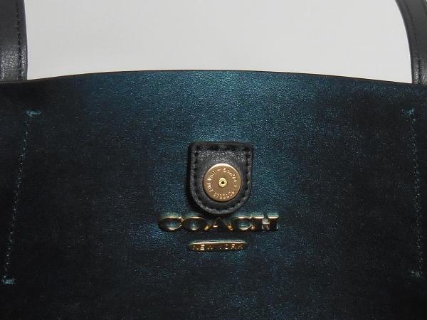 コーチ トートバッグF37871濃紺 内装金具