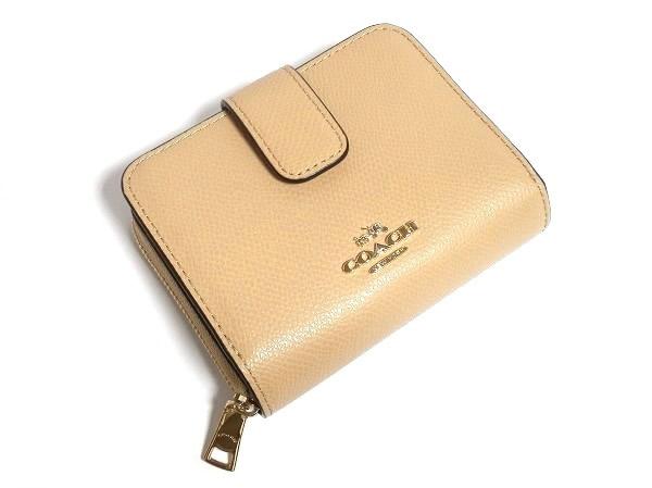 二つ折り財布F52692ベージュ