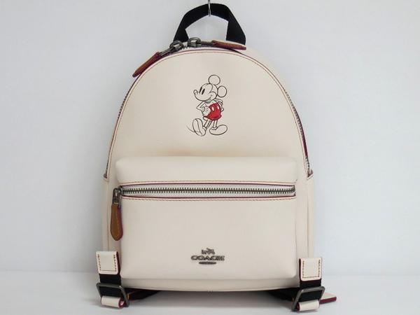 ミッキーマウス リュックサック コーチF59837白 正面
