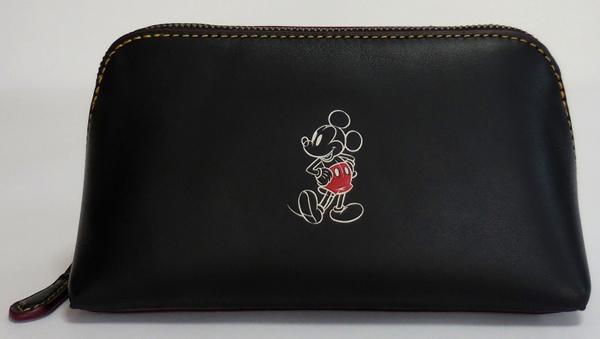 ミッキーマウス 化粧ポーチ コーチF59820黒 正面