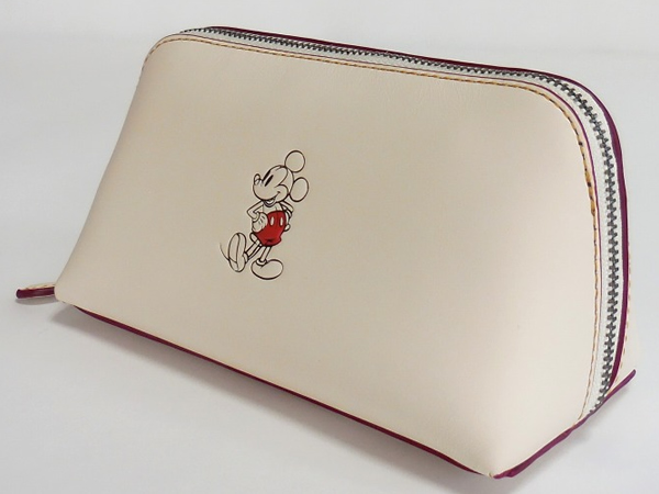 ミッキーマウス 化粧ポーチ コーチF59820白 側面
