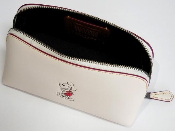ミッキーマウス 化粧ポーチ コーチF59820白 荷室