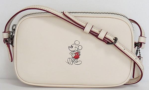 コーチ ミッキーマウス 斜めがけポーチF59072白
