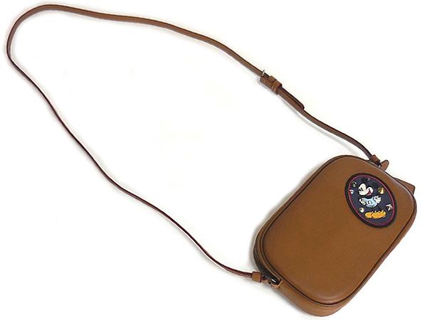 コーチ ミッキーマウス 斜めがけポーチF59532茶色 後