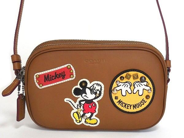 コーチ ミッキーマウス 斜めがけポーチF59532茶色 前