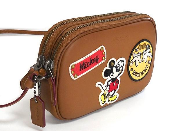 コーチ ミッキーマウス 斜めがけポーチF59532茶色 横
