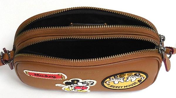 コーチ ミッキーマウス 斜めがけポーチF59532茶色 内装
