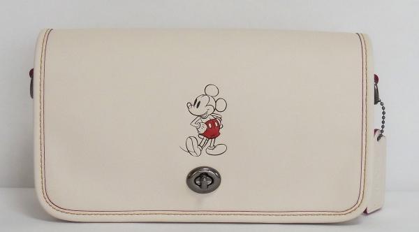 ミッキーマウス 斜めがけバッグ コーチF59374白 正面