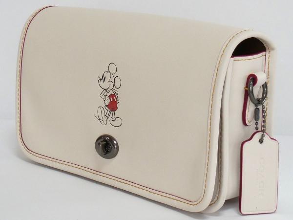 ミッキーマウス 斜めがけバッグ コーチF59374白 側面