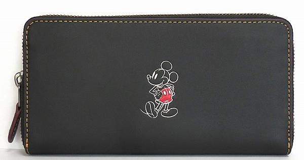 ミッキーマウス レザー長財布F58939黒 正面