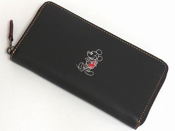 ミッキーマウス レザー長財布F58939黒 前面