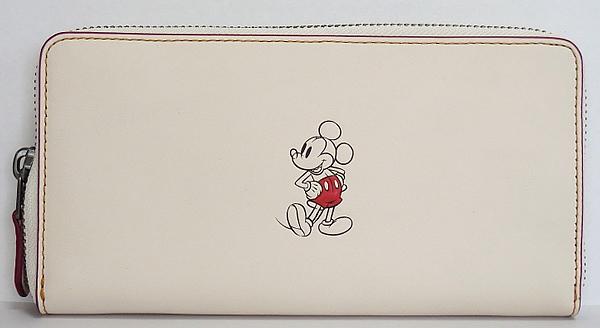 ミッキーマウス レザー長財布F58939白