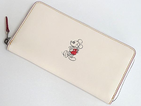 ミッキーマウス レザー長財布F58939白 前面