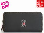 ミッキーマウス レザー長財布F58939黒